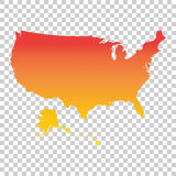 Usa, United States of America map. Colorful orange vector illust Stock Photo