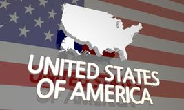 USA United States of America Nation Map. USA United States of America France Country Nation Map 3d Illustration Stock Photos