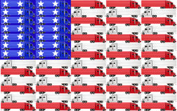 USA United States America Truck Flag Red White Blue. Red, white and blue trucks with tractor trailer big rig 18 wheelers on an American flag for the USA United Royalty Free Stock Photo