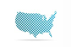 USA United States Chequered Map. Vector Graphic Design Stock Photography