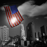 USA United States flag in black and white LA downtown. Skylines Stock Photo