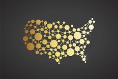 USA United States Gold Network Map. Vector Graphic Design Royalty Free Stock Photos