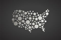USA United States Platinum Network Map. Vector Graphic Design Royalty Free Stock Images