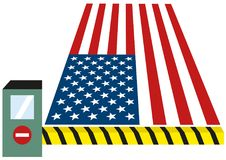 USA United States puts toll puts custom on goods and closes borders for immigrants isolated vector clipart illustration. USA United States puts toll puts custom vector illustration