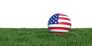 USA United States soccer ball lying in grass world cup 2018. USA United States flag soccer ball lying in grass world cup 2018, isolated on white background. 3D Stock Photo
