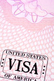 USA united states visa stamp passport page, copy space, vertical Royalty Free Stock Photos