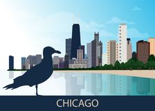 USA Urban Chicago city background with silhouette of sitting bird seagull, skyscrapers, lake Michigan and blue sky. Panorama, view Stock Images