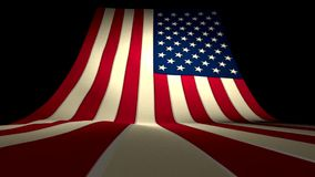 USA US American Flag Curving Upward Stars and Stripes Large Big Stock Footage