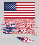 USA / US Flag With Reflection. USA / US Flag - National Symbol Of The United States Of America With Reflection - Stars And Stripes Stock Illustration