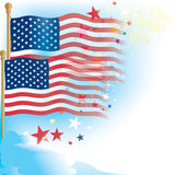 Usa,us flag and stars. Usa,us flag on 4th July  celebration with stars , fireworks Royalty Free Stock Images