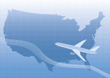 Usa,us map with plane Royalty Free Stock Image