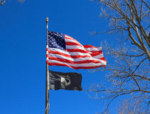 USA: US and POW/MIA flags. These two flags were photographed near Lincoln Memorial in Washington. The emblem of the POW (Prisoner of War) and MIA (Missing in royalty free stock images