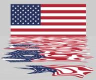 USA/USA flaga Z odbiciem obrazy stock