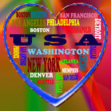 USA and USA's cities as background. USA in the World and USA's cities as background, with form of the heart stock illustration