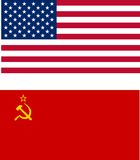 USA and USSR flags. Isolated vector illustration Royalty Free Stock Photo