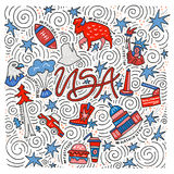 Usa vector concept. The hand drawn vector illustration of the USA symbols in a square shape Stock Photos