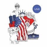 USA vector hand--drawen Illustration Lizenzfreies Stockbild