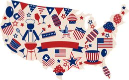 USA vector icons for american independence day. Illustration Royalty Free Stock Image