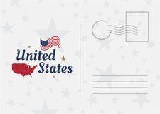 USA Vector vintage Postcard with american flag and map. Template for your design cards Royalty Free Stock Photos