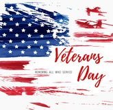 USA Veterans day background. Abstract grunge brushed flag with text. Template for banner, greeting card, invitation, poster, flyer, etc royalty free illustration