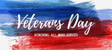USA Veterans day banner. USA Veterans day background. Abstract grunge brushed lines in flag colors with text. Template for horizontal banner stock illustration
