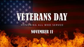 USA Veterans Day banner. Honoring all who served. November 11 United States Veterans Day banner with US flag and words Honoring all who served. On water and Royalty Free Stock Photos