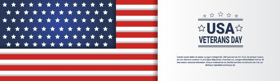 Usa Veterans Day Horizontal Banner With United States Flag On Background And Copy Space Stock Image
