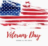USA Veterans day. Background. Vector abstract grunge brushed flag with text. Template for banner, greeting card, invitation, poster, flyer, etc Stock Photography