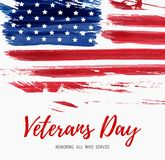 USA Veterans day. Background. Vector abstract grunge brushed flag with text. Template for banner, greeting card, invitation, poster, flyer, etc Royalty Free Stock Image