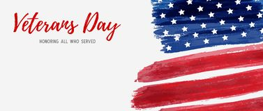 USA Veterans day. Background. Vector abstract grunge brushed flag with text. Template for horizontal banner vector illustration