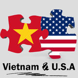 USA and Vietnam flags in puzzle Stock Photo