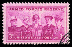 USA  vintage postage stamp armed forces reserve. USA  vintage postage stamp with an engraved image of armed forces reserve Royalty Free Stock Image