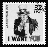 USA vintage postage stamp showing Uncle Sam. Black & white image of a USA vintage postage stamp showing Uncle Sam from World War One saying 'I want you stock images