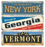 USA.Vintage tin sign collection with America state. All States. Retro souvenirs. New York. Georgia. Vermont. vector illustration