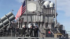 USA Virgina Norfolk, November 2015, Medium Shot. Soldiers stand in formation at the back of the USS Anzio stock video footage