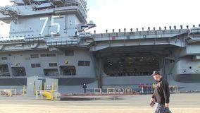 USA Virgina Norfolk, November 2015, Medium Shot Of. Soldiers stand in a formation at the deck of the USS Harry Truman Carrier stock video footage