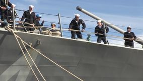 USA Virgina Norfolk, November 2015, US Soldiers. US Marine Soldiers haul a rope at the USS Bulkeley stock footage
