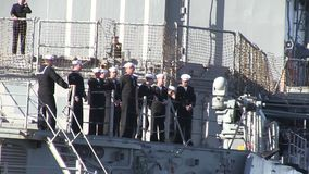 USA Virgina Norfolk, November 2015, US Soldiers. US soldiers stand on the deck of the USS Anizo stock footage