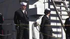 USA Virgina Norfolk, November 2015, US Soldiers. US soldiers stand on a ship deck stock footage