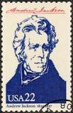 USA - 1986: visar ståenden Andrew Jackson 1767-1845, den sjunde presidenten av USA, seriepresidenter av USA Royaltyfri Bild