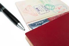 USA-visum med bakgrund Arkivfoto