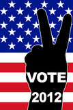 USA Vote 2012. Victory gesture over national flag. Raster illustration vector illustration