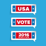 Usa, Vote label  set. On blue background Royalty Free Stock Photography