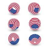 USA vred abstrakt vektorlogo för cirkel Förenta staterna symboluppsättning Vektorillustration för självständighetsdagen 3d vektor illustrationer