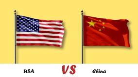 USA VS China Flag 3D animation. Beautiful waving, FullHD stock video