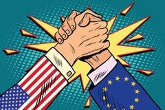 USA vs EU Arm wrestling fight confrontation Royalty Free Stock Images