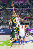 USA vs Lithuania. Jonas Valanciunas and Anthony Davis in action at FIBA World Cup basketball match between USA Team and Lithuania, final score 96-68, on Royalty Free Stock Photography