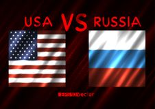 USA VS Russia conflict. Square flags on dark red background. Cold war illustration Stock Photo