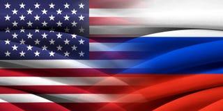 USA vs Ryssland Arkivbilder