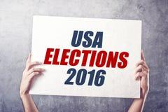 USA-Wahlen 2016, Mann, der Plakat hält Stockfotos